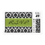 R.S.V.P. Black Damask & Green Postage Stamp RSVP