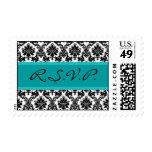 R.S.V.P. Black Damask & Teal Postage Stamp RSVP