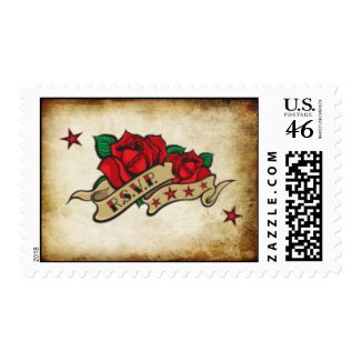 R.S.V.P. Rose Urban Tattoo Theme Wedding Postage S stamp