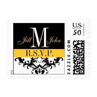 R.S.V.P. Wedding Monogram Swirls Postage Yellow
