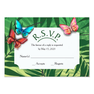 R. S. V. P. with tropical designs Card