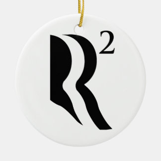 R SQUARED - ROMNEY RYAN 12 Double-Sided CERAMIC ROUND CHRISTMAS ORNAMENT