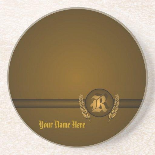 R - Superb Customizable Monogram Sandstone Coaster