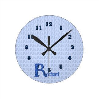 R - The Falck Alphabet (Blue) Round Clock
