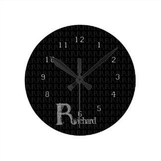 R - The Falck Alphabet (Silvery) Round Clock