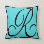 R - The Letter R on Aqua Background Throw Pillow