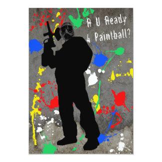 """¿R U alistan 4 Paintball? Invitación 5"""" X 7"""""""