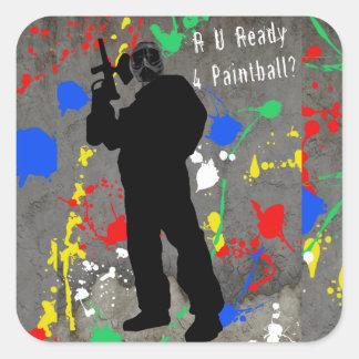 ¿R U alistan 4 Paintball? Calcomanías Cuadradas Personalizadas