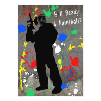 "R U Ready 4 Paintball? 5"" X 7"" Invitation Card"