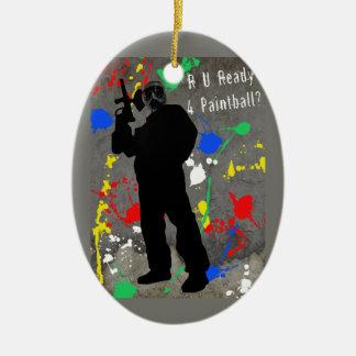 R U Ready 4 Paintball? Double-Sided Oval Ceramic Christmas Ornament
