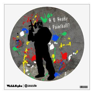 R U Ready 4 Paintball Shooter & Splatters Wall Sticker