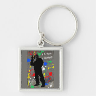 R U Ready 4 Paintball? Silver-Colored Square Keychain