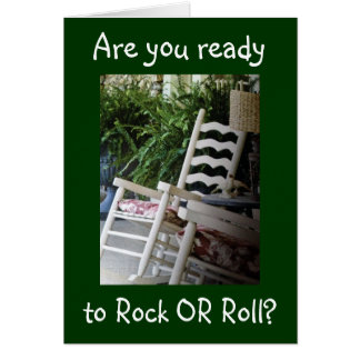 """R U READY TO ROCK """"OR"""" ROLL ON OVER THE HILL GREETING CARD"""