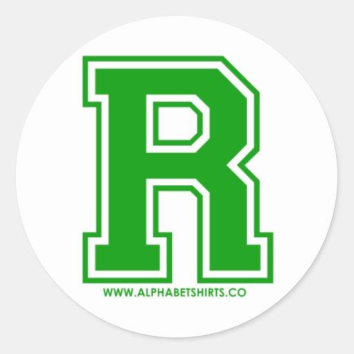 R verde pegatina redonda