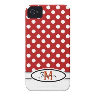 R & W Polka-dot Monogram Blackberry Bold Case