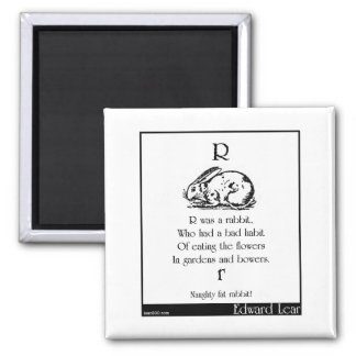 R was a rabbit, 2 inch square magnet