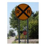 R X R - Railroad Crossing Sign Postcard