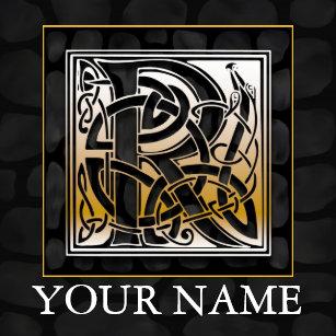 R Your Name Celtic Black Stone Monogram Tile