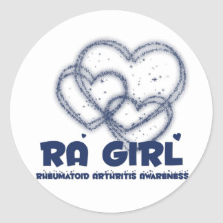 RA Girl Heart Design :: Rheumatoid Arthritis Classic Round Sticker