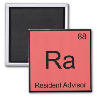 Ra - Resident Advisor Chemistry Element Symbol Tee 2 Inch Square Magnet