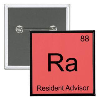 Ra - Resident Advisor Chemistry Element Symbol Tee 2 Inch Square Button