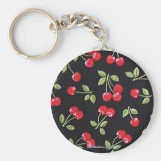 rab billy Rockabilly Red Cherries on Black  Gifts Keychain