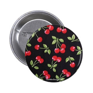 rab billy Rockabilly Red Cherries on Black  Gifts Pinback Button
