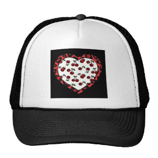 RAB cherries Leopard Print Heart Rockabilly Trucker Hat