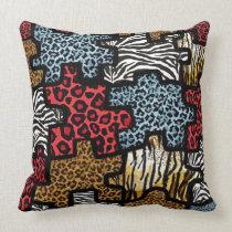 RAB Rockabilly Animal Print Puzzle Throw Pillow