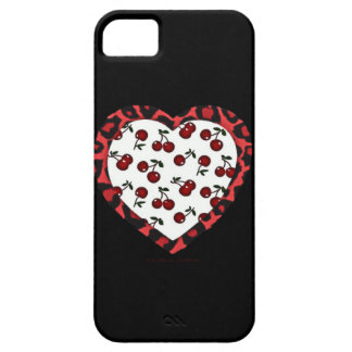 RAB Rockabilly Cherries Leopard Print Heart iPhone SE/5/5s Case