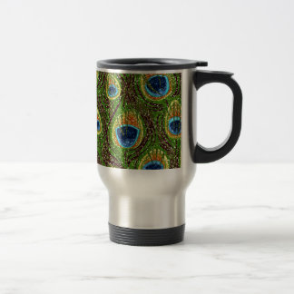 RAB Rockabilly Colorful Peacock Feathers Print 15 Oz Stainless Steel Travel Mug