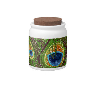 RAB Rockabilly Colorful Peacock Feathers Print Candy Dish