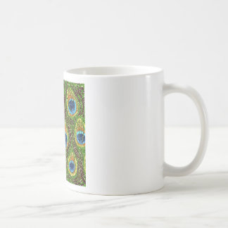 RAB Rockabilly Colorful Peacock Feathers Print Classic White Coffee Mug