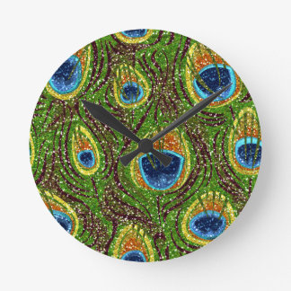 RAB Rockabilly Colorful Peacock Feathers Print Wall Clock