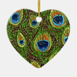 RAB Rockabilly Colorful Peacock Feathers Print Double-Sided Heart Ceramic Christmas Ornament