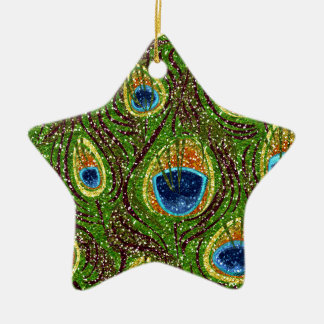 RAB Rockabilly Colorful Peacock Feathers Print Double-Sided Star Ceramic Christmas Ornament