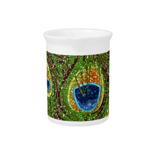 RAB Rockabilly Colorful Peacock Feathers Print Drink Pitcher