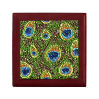 RAB Rockabilly Colorful Peacock Feathers Print Trinket Box