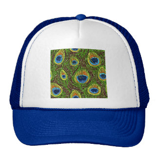 RAB Rockabilly Colorful Peacock Feathers Print Mesh Hats