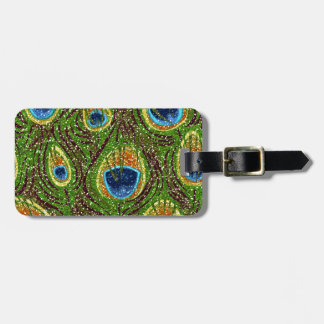RAB Rockabilly Colorful Peacock Feathers Print Luggage Tag