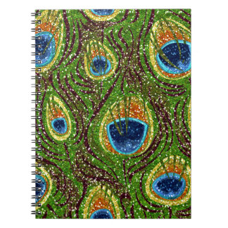RAB Rockabilly Colorful Peacock Feathers Print Spiral Notebooks