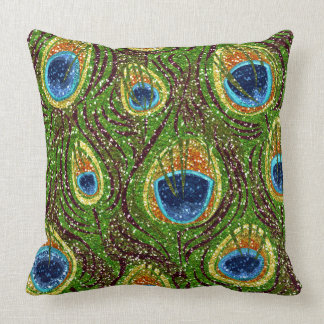 RAB Rockabilly Colorful Peacock Feathers Print Throw Pillow