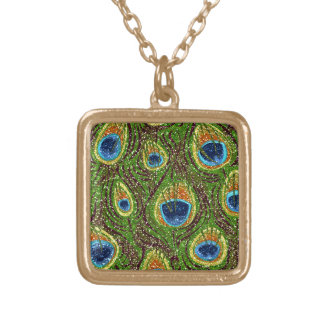 RAB Rockabilly Colorful Peacock Feathers Print Square Pendant Necklace