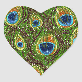 RAB Rockabilly Colorful Peacock Feathers Print Heart Sticker