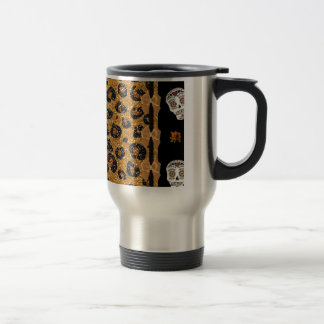 RAB Rockabilly Gold Leopard Print Sugar Skulls 15 Oz Stainless Steel Travel Mug