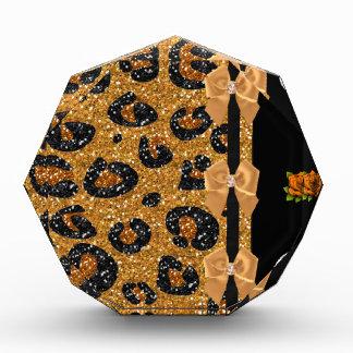 RAB Rockabilly Gold Leopard Print Sugar Skulls Acrylic Award