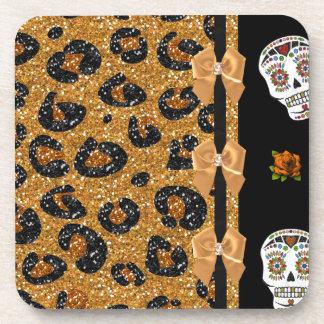 RAB Rockabilly Gold Leopard Print Sugar Skulls Beverage Coaster