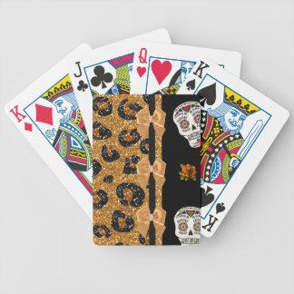 RAB Rockabilly Gold Leopard Print Sugar Skulls Bicycle Playing Cards