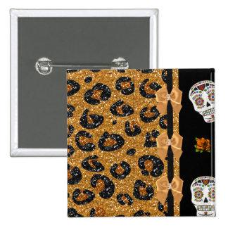 RAB Rockabilly Gold Leopard Print Sugar Skulls 2 Inch Square Button