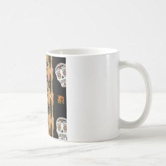 RAB Rockabilly Gold Leopard Print Sugar Skulls Classic White Coffee Mug